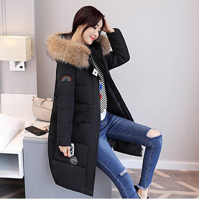 Winter Jacket Women 2017 Big Yard Fur Collar White Duck Down Coats Long Thick Womens Winter Warm Slim Jackets And Coats