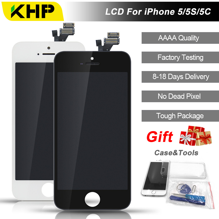 2018 100% Original KHP AAAA 5S Tela LCD Para o iphone 5 5C IPS Tela de LCD Substituição Da tela Display Touch Qualidade 5S 5C 5 LCDS