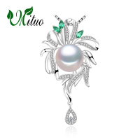MITUO 925 sterling silver necklace ,pearl jewelry statement necklace Pearl pendant for women flower beryl hyperbole necklace