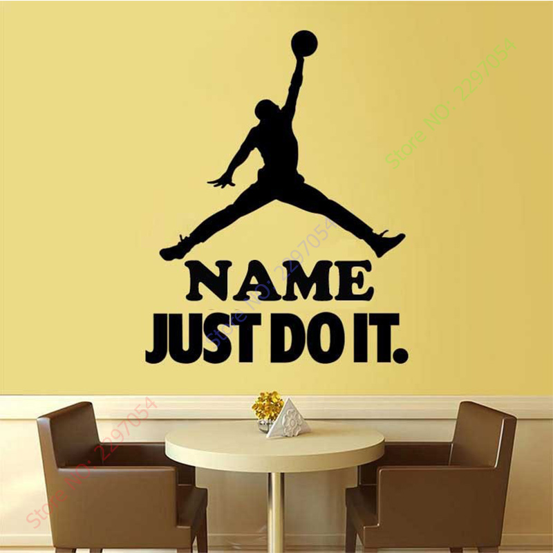 sport basketball custom name boy room decor vinyl wall sticker home