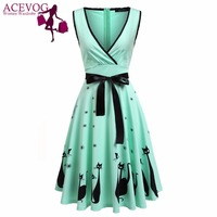 ACEVOG Party Dress Women Clothing Summer Casual Sleeveless Print Cross Front Bow Sexy Deep V Neck