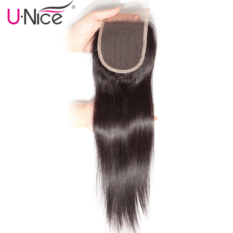 UNice Hair Icenu Series Remy Hair Brazilian Straight Hair Closure Free Part Human Hair Lace Closure