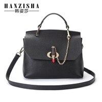 Hanzisha 2017 Spring Genuine Leather Lipstick Handbag Famous Brand Design Leather Women Shoulder Bag Luxury Handbags