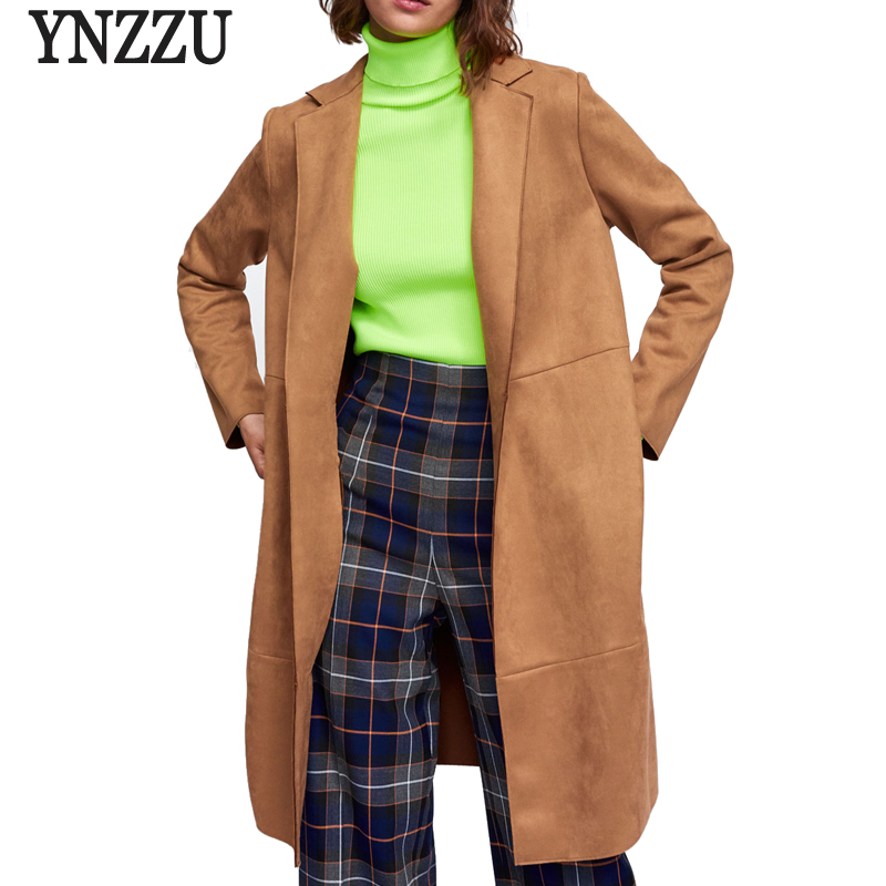 YNZZU 2018 Autumn Women   Suede     Leather   Jacket Vintage Army Green Mid-Long Loose Fashion   Leather   Coat Women High Quality YO653