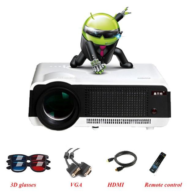 4.4 Android & WIFI Full HD LED Daytime Projetor Inteligente 3D 5500 Lumen Beamer Projektor Proyector LED86 projetor de Cinema Em Casa Sem Fio telefone