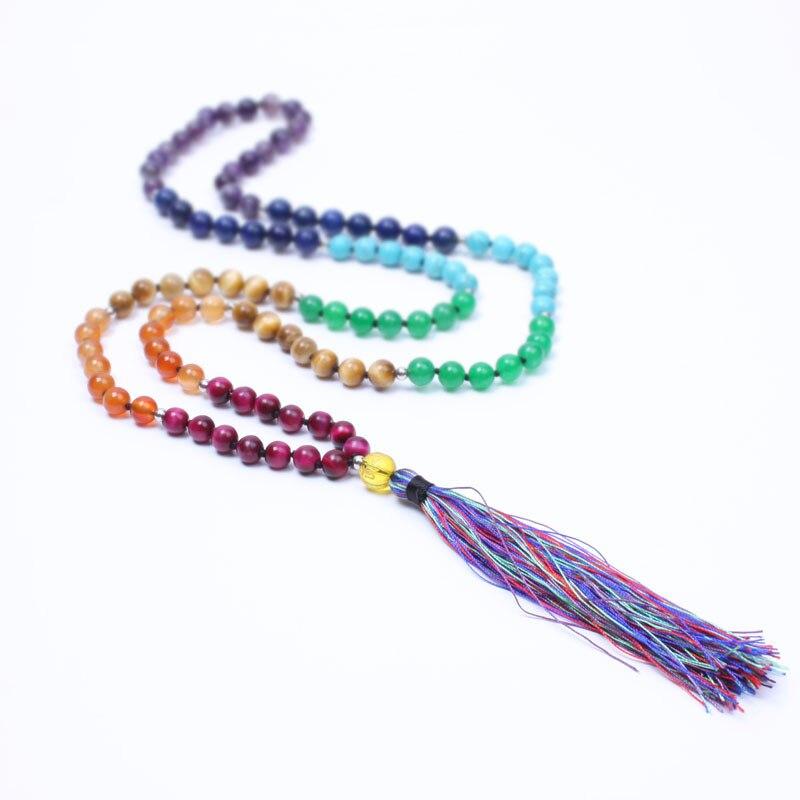 Neue 7 Chakra Mala yogi halskette naturstein perlen quaste lange halskette für frauen Meditation schmuck maxi halskette dropshippin