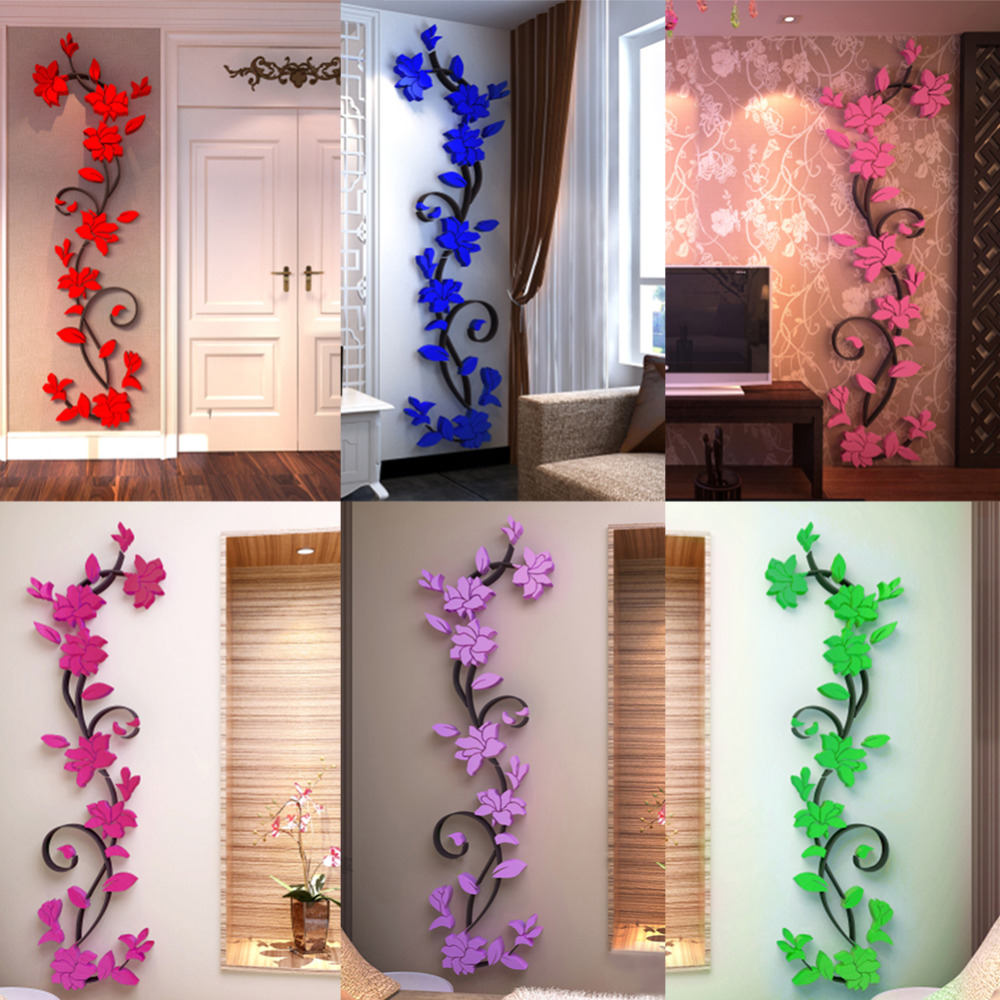 3D Wall Sticker Fashion Rose Flower Entranceway TV Background Wall Modern  Decoration Crystal three dimensional wall stickers L3-in Wall Stickers from  Home ...