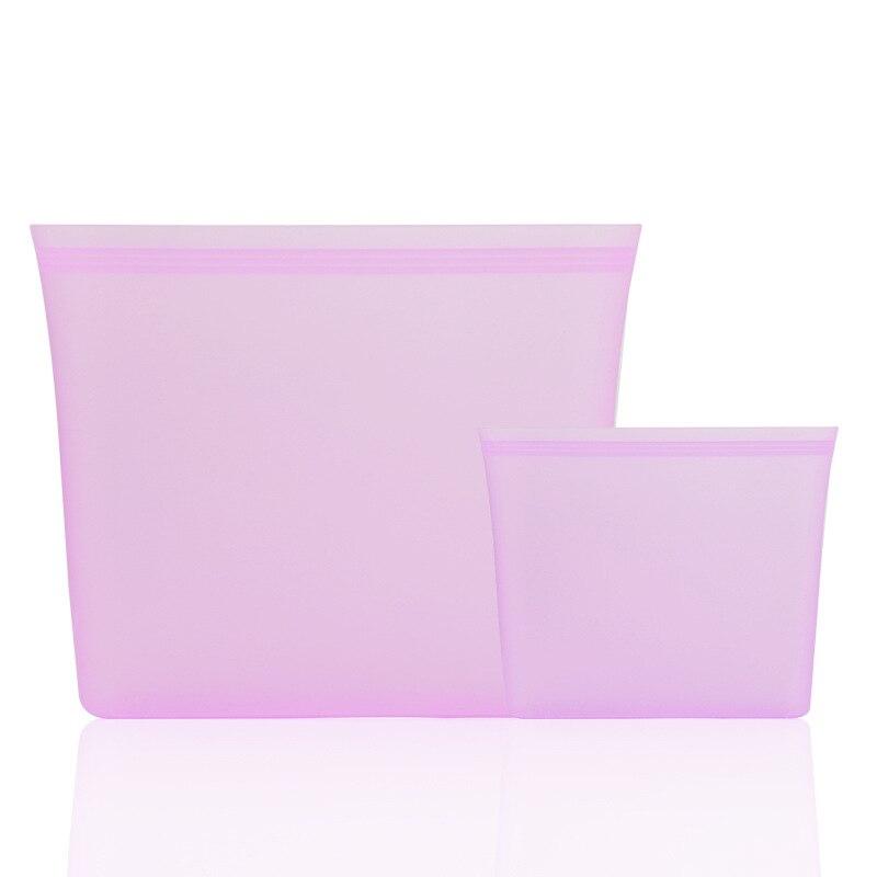 3/8 pces silicone zíper comida vegetablebag armazenamento de alimentos saco fresco leakproof recipiente tigela fresca reutilizável levanta-se zips fechado saco