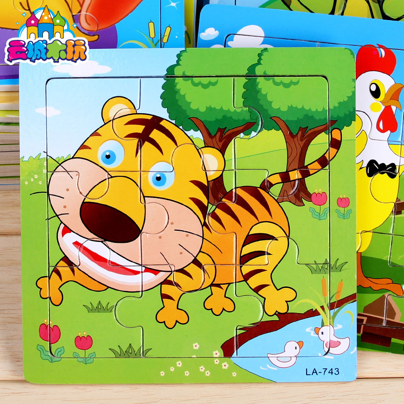 Random 1 Piece Cute Cartoon Puzzle Wooden Small Kids Game Toys Wood Jigsaw Animals Pattern Puzzles For Children Educational Toys