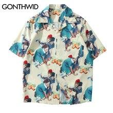 GONTHWID Vintage pintura impresión camisas verano moda Casual Hawaii playa Aloha fiesta camisa Streetwear hombres camisetas de manga corta