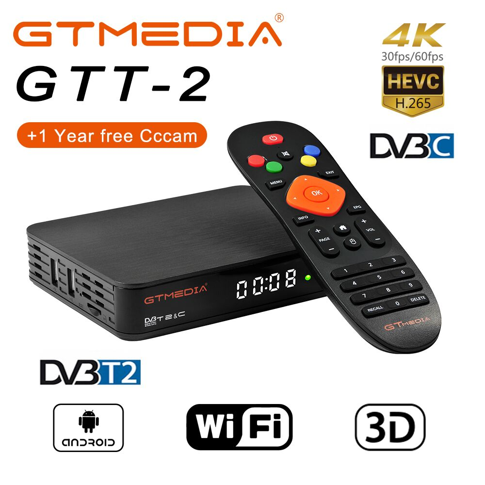 2019 nouveau GTMEDIA GTT2 Amlogic S905D 2GBRAM + 8GB Android TV box + 1 an CCCAM Support DVB-T2/T/câble (J83.A/B/C)/ISDBT Youtube IPTV