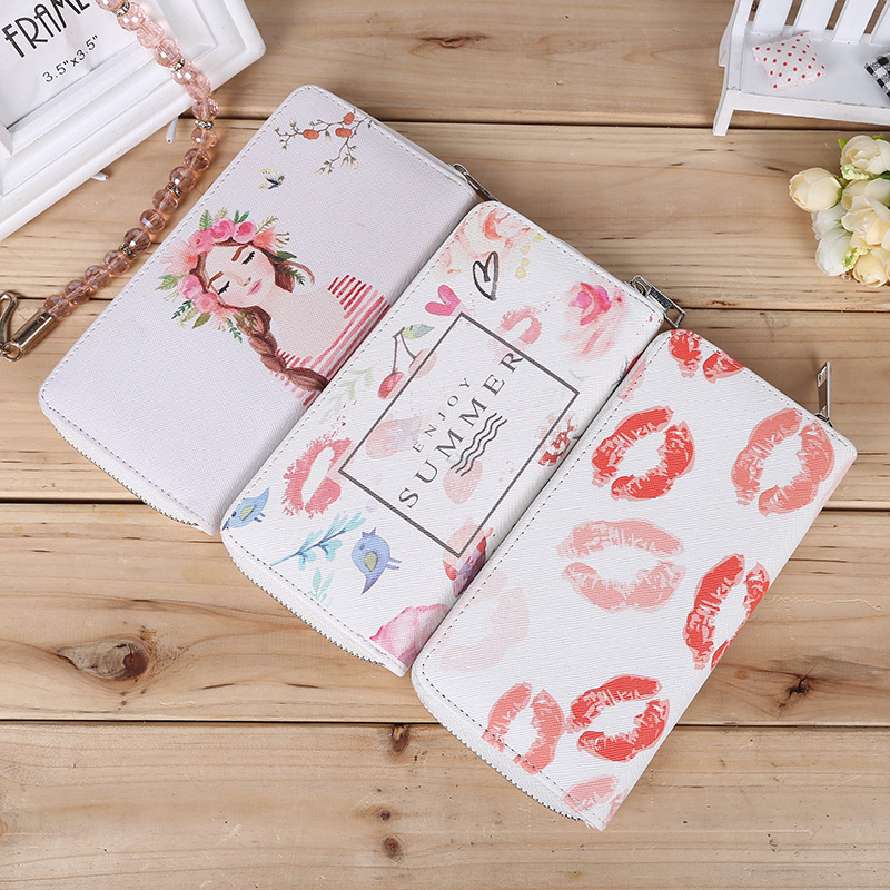 Fashion Lip Kiss Female wallets High-quality PU Leather Wallet Women Long Style Purse Brand Capacity Clutch Card Holder Pouch hot fashion female clutch wallets high quality purse women long style wallet famous brand capacity clutch card holder pouch blue