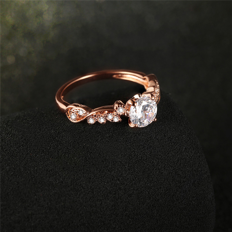 2018 New Rose Gold Color Rings Fashion Retro Flower Cubic Zirconia Engagement Thin Ring Jewelry For Women Dropshipping 2