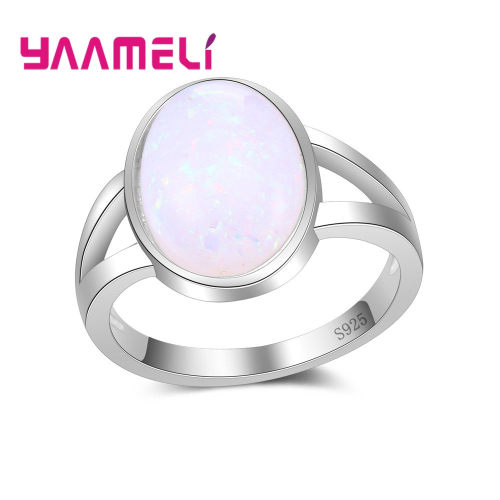 YAAMELI Fast Ship Bigger Oval Shape Opal Crystal Finger Rings New Arrival 925 Sterling Silver Jewelry Women Ladies Accessories
