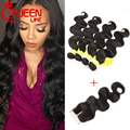 Top Grade Brazilian Body Wave With Closure 4 Bundles Brazilian Virgin Hair With Lace Closure Human Hair Weaves With Closures