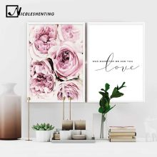 Scandinavian Style Pink Flower Painting Wall Art Canvas Posters Nordic Prints Decorative Picture Modern Home Bedroom Decoration(China)