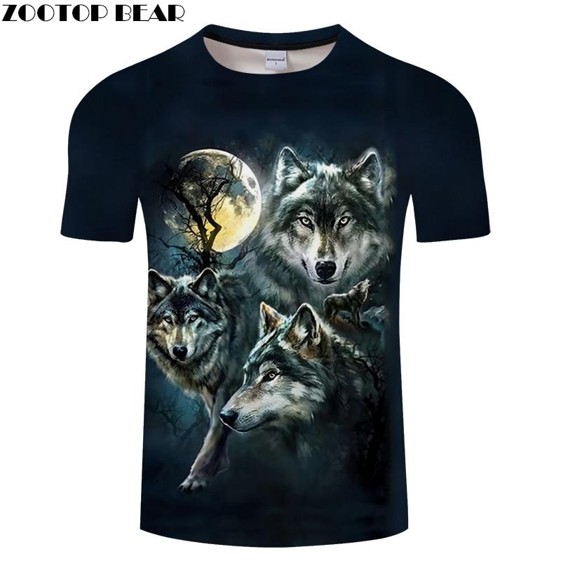 Black tshirt Wolf   t     shirt   Men   t  -  shirt   Anime Tee 3D Top Harajuku Camiseta Streatwear ShortSleeve O-neck Hot Drop Ship ZOOTOPBEAR
