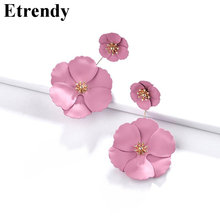 Big Flower Drop Earrings For Women 2019 Fashion Jewelry Statement Pendientes Pink White Yellow Double Layers Handmade(China)