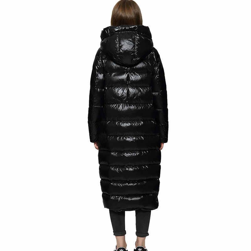 冬ロングダウンコートジャケット女性 2019 ヒップスター黒光沢のある厚みコートホワイトダックダウンジャケット-暖かいパーカー HS619