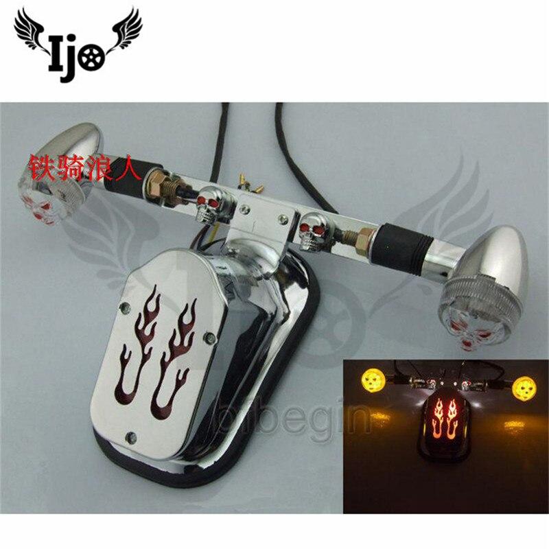 Accessoires moto rétro feu arrière pour terre aigle roi cheval 400 rétroajusté crâne et queue feu arrière feux de frein à flamme