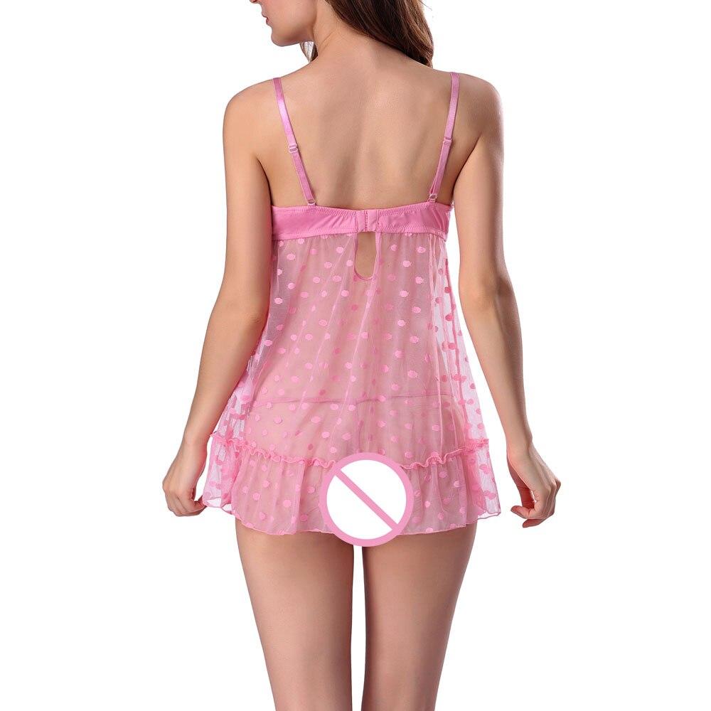710df56793 Sexy Women Ladies See Through Lace Nighty Dress Sleepwear Cute Dot Lingerie+G  String Nightgown Bra Robe Nightwear nuisette femme-in Nightgowns    Sleepshirts ...