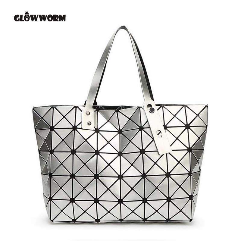 2017 Fashion Bag Women Tote Fold summer issey miyak Hand Bag Laser Geometric Designer Handbags High Quality TN141