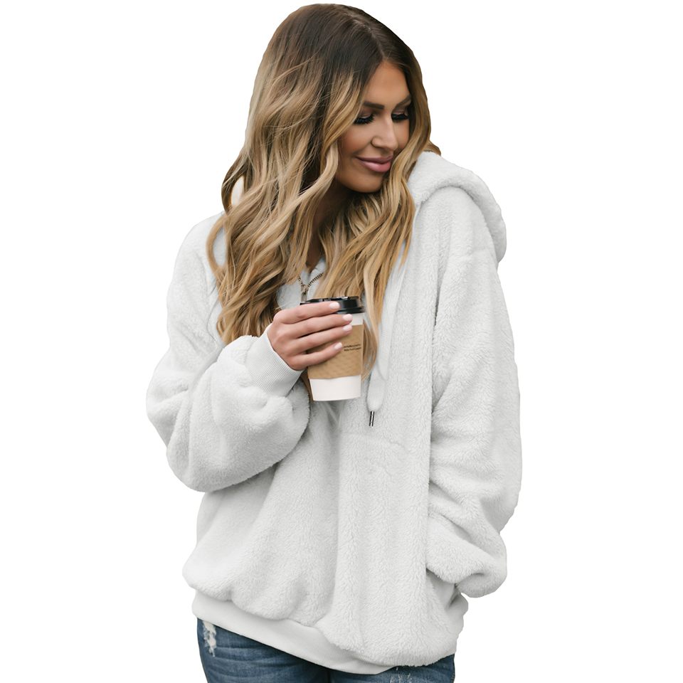 MQUPIN Hot Selling Brown White Gray Black Casual Full Sleeve Solid Puff Sleeve Warm Furry Sweatshirts Pullover Hoodie