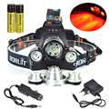 Boruit Headlamp XML T6 +XPE RED LED Headlight 5000 Lms 3 Mode luces de pesca 18650 Rechargeable Hunting Head Light  Flashlight
