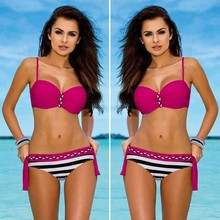 YCDKK New Sexy Brazilian Push Up Biquini Swimwear Female Stripe Tanga Bikinis Halter Swimsuit Beach Bathing Suit Maillot De Bain