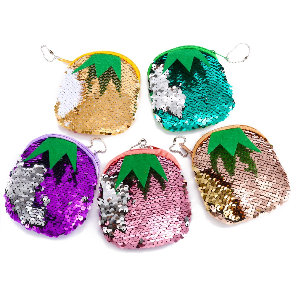 Small mermaid sequines women coin purse pocket wallet pineapple earphone storage pouch cute card holder money bags for kids gift cute cats coin purse pu leather money bags pouch for women girls mini cheap coin pocket small card holder case wallets