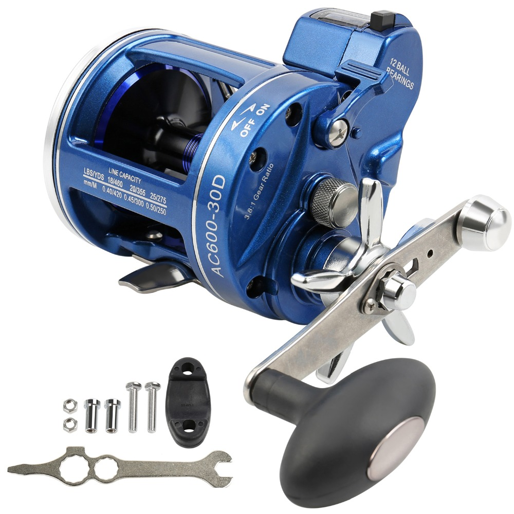 цена на Sougayilang Strong Trolling Fishing Reel 12BB Right/Left Hand Saltwater Trolling Reels with Line Counter Alarm Bell Drum Reel