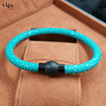 2016Luxury Brand Men Fur Bracelet Jewelry Genuine Turquoise Stingray Leather Magnetic Clasp Unisex Bracelet Best Friendship Gift