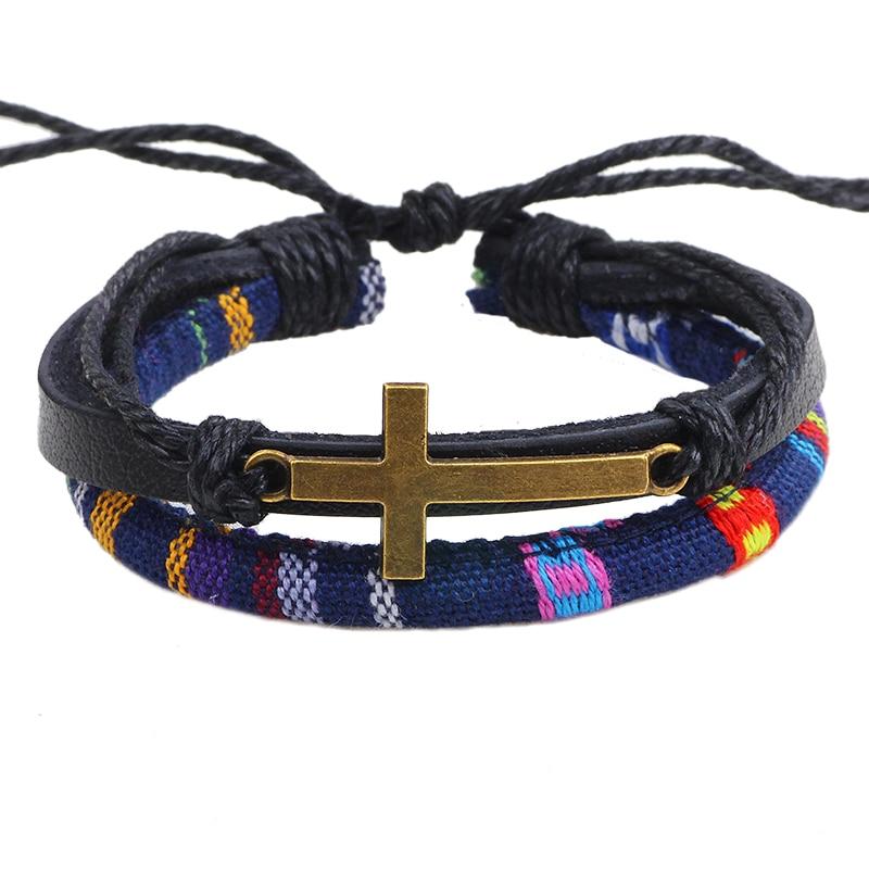 Linnor Vintage Mens Bronze Cross Bracelet Christian Jesus Prayer Braslet Pulseira de Couro boho Bracelet Jewelry