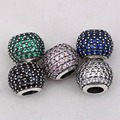 Fits pandora Bracelets Beautiful Neatly paved cubic zirconia silver beads 925 sterling silver jewelry DIY Charms Wholesale