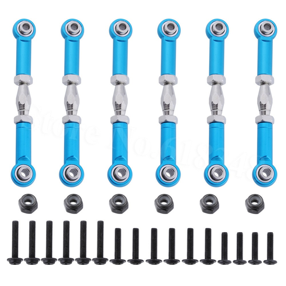 6pcs 166617 166017 106017 Aluminum Turnbuckle Rod Linkage For RC 1/10 Redcat Volcano EPX HSP 94111 Monster Truck Upgrade Parts 2pcs hsp 106017 106617 aluminum steering linkage 06016 front rear servo link 1 10th upgrade parts for r c model car buggy