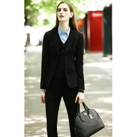 Custom Made Black Lady Office Suits Long Sleeve Three Pieces Business Suits High Quality Designers Suits