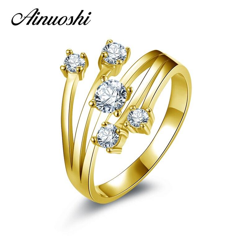 AINUOSHI 14 K solide or jaune étoile fleur anneau conception spéciale SONA simulé diamant mariage fiançailles grappe anneau femmes cadeau