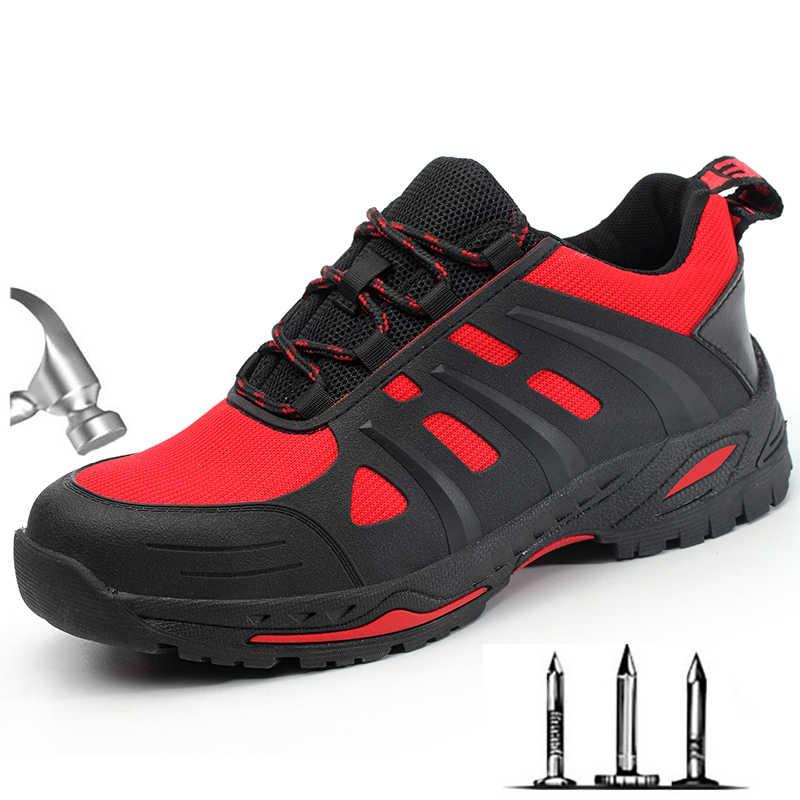 Yaz erkek Yeni Çöl Çelik Ayak Anti Smash iş ayakkabısı Botları Erkekler Askeri Savaş Ordu Delinme Geçirmez Güvenlik Ayakkabıları
