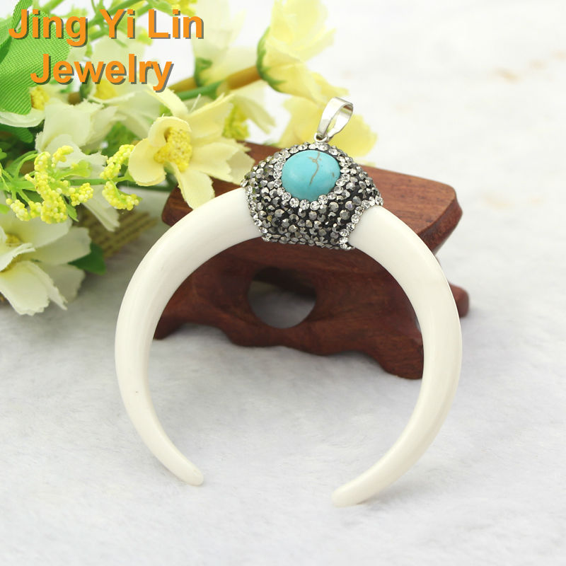 White Resin Punk Pendant Pave Hematite Crystal Zircon Simulated Elephant Tooth Shape Charms Jewelry For Necklace