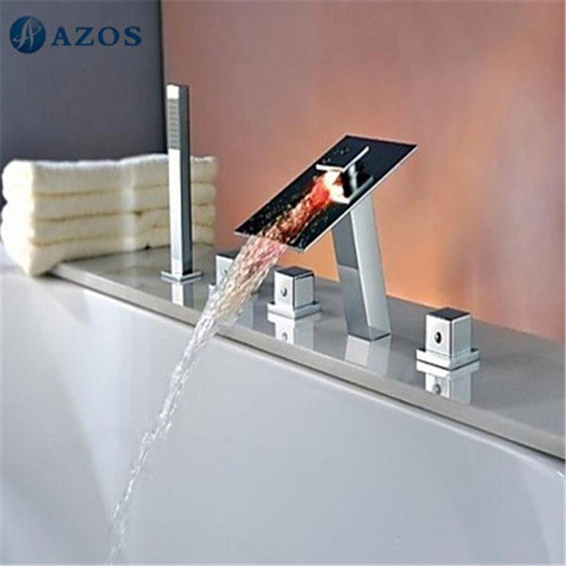 Bathtub Shower Faucets LED Bathroom Suana 5pc Sets Showerhead,Diverter,Two Handles,Shower Hose,Waterfall Spout YGWJ065