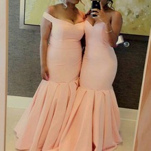 Mermaid Sweetheart Off The Shoulder Sexy Elegant Pink Elastic Satin Long Wedding Party Gowns Plus Size Bridesmaid Dresses