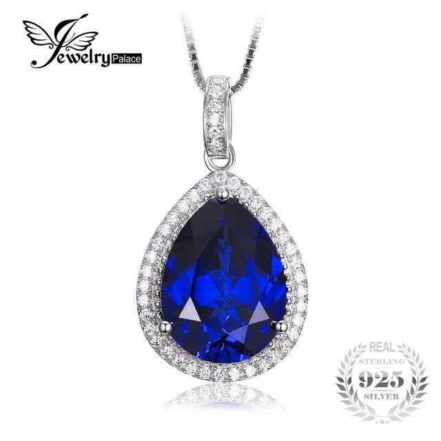Jewelrypalace luxo pear cut 10.9ct criado blue sapphire não incluem a cadeia sólido 925 pingente de prata para as mulheres
