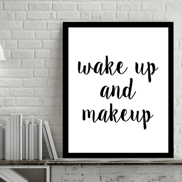Modern Wake Up And Make Quotes Canvas Paintings Wall Art Pictures Black White Pop