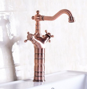 Vintage Red Copper Antique Brass Dual Cross Handles Swivel Spout Bathroom Basin Kitchen Sink Faucet Cold & Hot Mixer Tap anf128