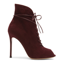 European Style Sexy Wine Red Suede Thin High Heel Short Boots Lace Up High Cut Slim