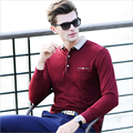 High Quality 2016 New Arrival Men Plaid Collar Cotton Polo Mens Shirt Long Sleeve Solid Polo Slim Fit Shirt Male Free Shipping