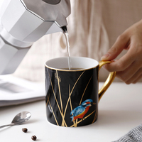 Kingfisher Pastoral Bone China Mug European style Personality Large Capacity Ceramic Water Cup Creative Coffee Cup With Spoon