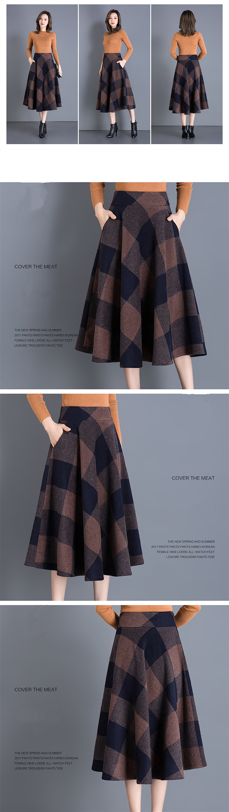 4fd6902fc6 Detail Feedback Questions about Vintage Plaid Skirt Women Autumn ...