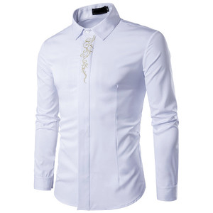Image 4 - Мужские рубашки VISADA JAUNA, повседневные рубашки в стиле смарт кэжуал с разноцветным базовым принтом и вышивкой, весна осень 2018
