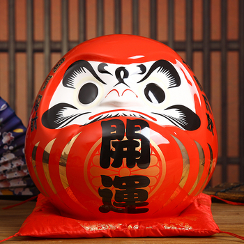 7.5 אינץ יפני דרומא קישוט קרמיקה כסף תיבת מטבע בנק Maneki Neko Fortune צלמית פנג שואי מתנה לחתונה